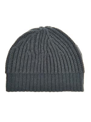 Ribbed-knit wool-blend beanie