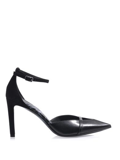 Balenciaga Leather & suede ankle-strap pumps