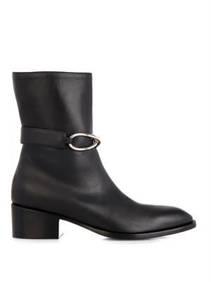 Block heel leather ankle boots