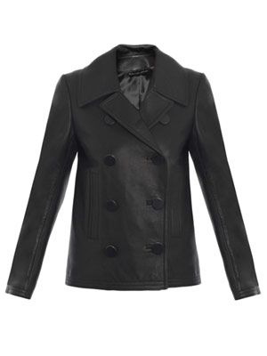 Top-stitched leather pea coat