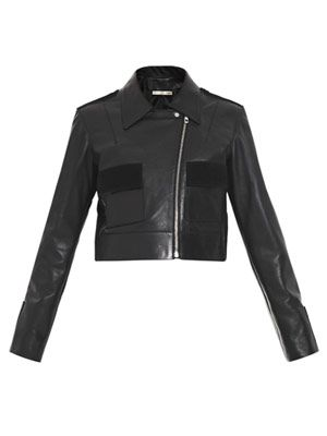 Leather double-pocket biker
