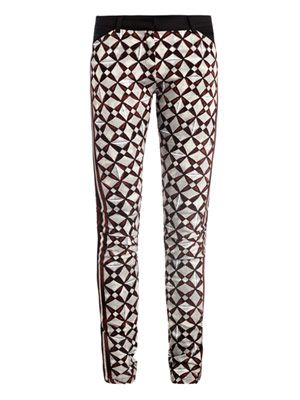 Mosaic-print skinny denim trousers