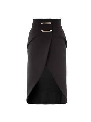 Metal bar bonded crepe pencil skirt