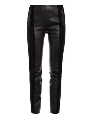 Le slim suede and leather leggings