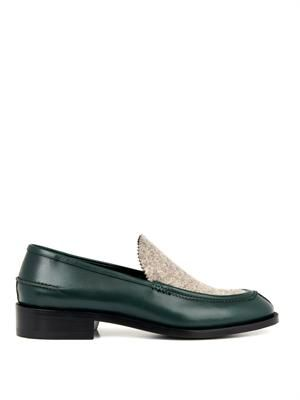 Leather and felt loafers