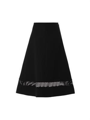 Crepe mesh-panel midi skirt