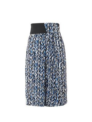 Graphic-print crepe skirt