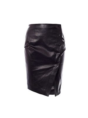 Leather side button skirt
