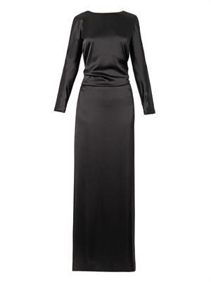 V-back draped satin gown