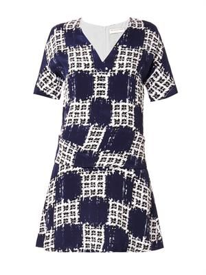 Scribble-check-print crepe dress
