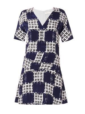 Scribble-check-print crepe dress