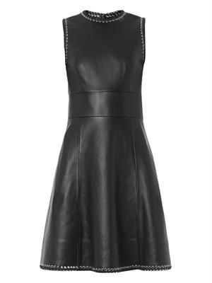 Eyelet-embellished leather dress