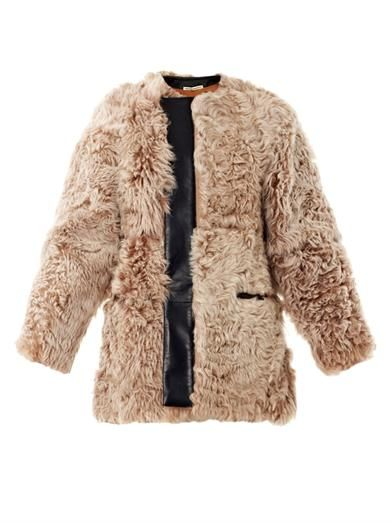 Balenciaga Textured shearling and leather coat