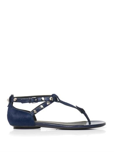 Balenciaga Calf-hair and studded leather sandals