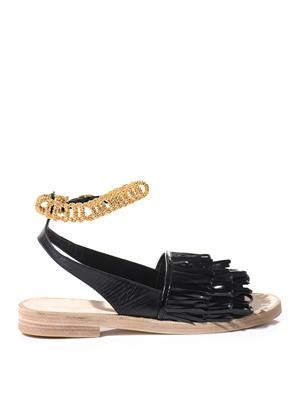 Tassel patent-leather sandals