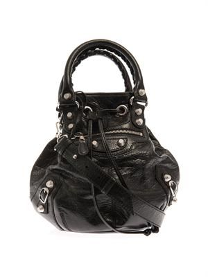 Giant Pompom leather bucket bag