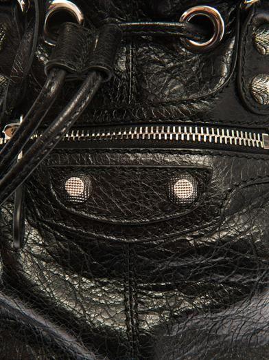Balenciaga Giant Pompom leather bucket bag