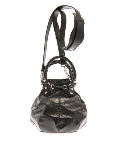 Balenciaga Giant Pompom leather bucket bag