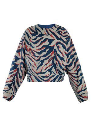 Zebra-print jersey sweater