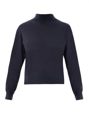 High-neck bi-colour cashmere sweater