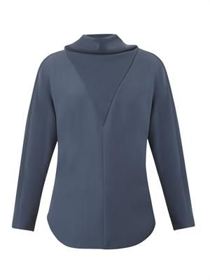 Tie-back crepe blouse