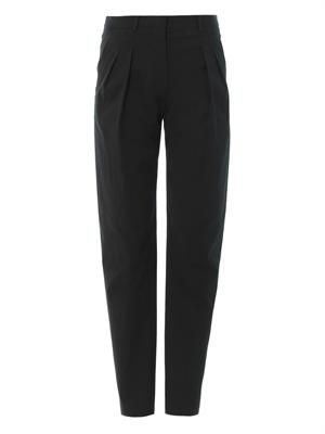 Tailored textured-crepe trousers
