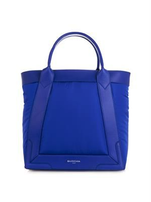 Cabas nylon and leather tote