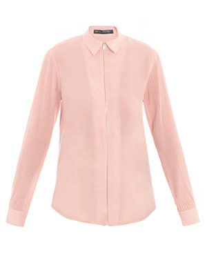 Georgette pin-tuck shirt