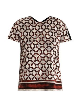 Mosaic-print silk top