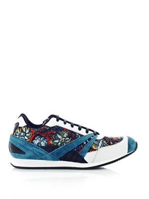 Indian-print leather trainers