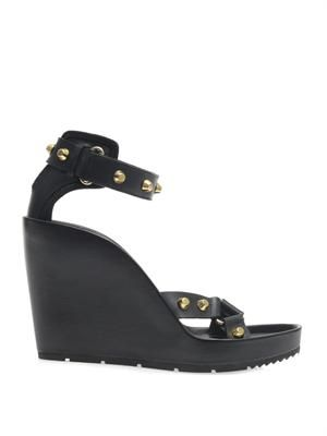 Arena stud leather wedge sandals