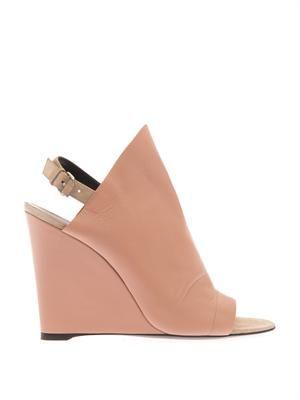 Glove leather slingback wedge sandals