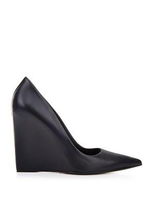 Prism leather wedge pumps