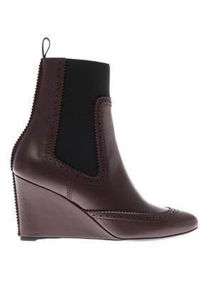 Brogue-detail leather wedge boots