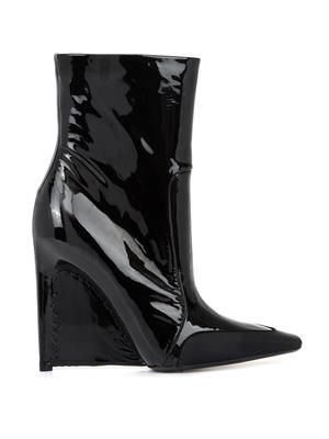 Patent leather stiletto-wedge boots
