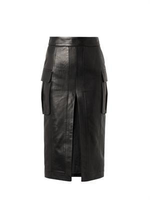 High hem-slit leather pencil skirt