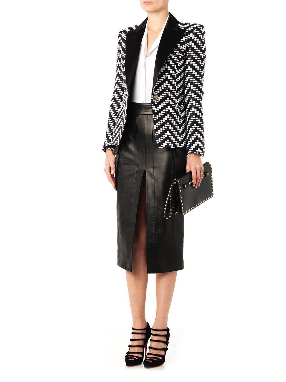 high hem slit leather pencil skirt balmain