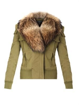 Fur-trimmed cotton jacket