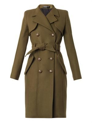 Double-breasted wool trench coat