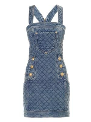 Quilted denim dress