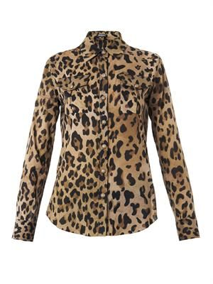 Leopard-print cotton blouse
