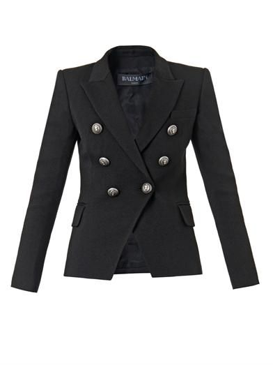 Balmain Double-breasted wool-blend jacket