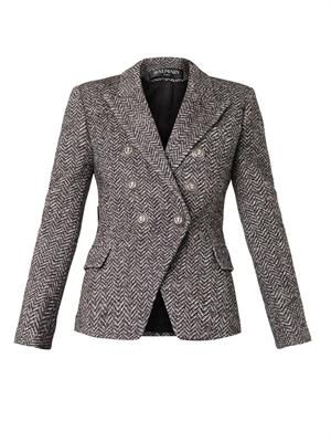 Double-breasted herringbone blazer