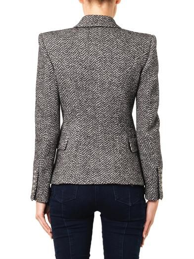 Balmain Double-breasted herringbone blazer