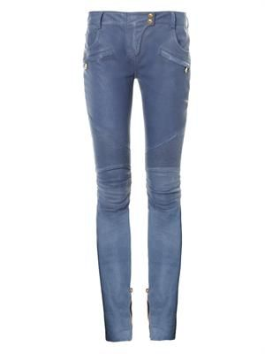 Leather low-rise skinny trousers