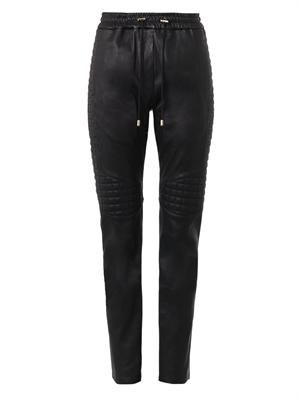 Quilted-leather track pants