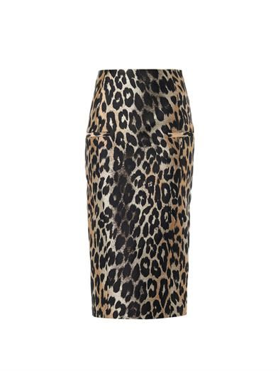 Balmain Leopard-jacquard pencil skirt