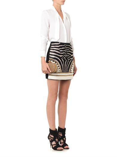 Balmain Embellished suede mini skirt