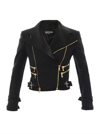 Balmain Perfecto satin-lapel wool-twill jacket