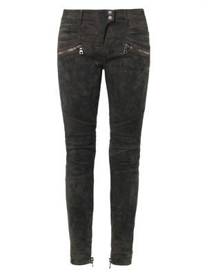 Moto-style mid-rise skinny jeans